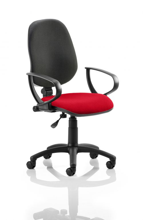 Eclipse I Lever Task Operator Chair Black Back Bespoke Seat With Loop Arms In Post Box Red