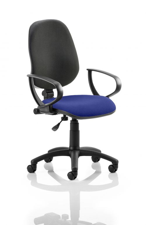 Eclipse I Lever Task Operator Chair Black Back Bespoke Seat With Loop Arms In Admiral Blue