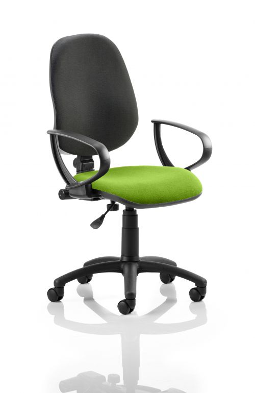 Eclipse I Lever Task Operator Chair Black Back Bespoke Seat With Loop Arms In Lime