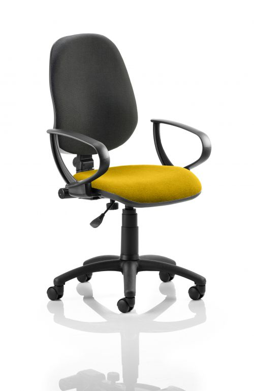 Eclipse I Lever Task Operator Chair Black Back Bespoke Seat With Loop Arms In Yellow