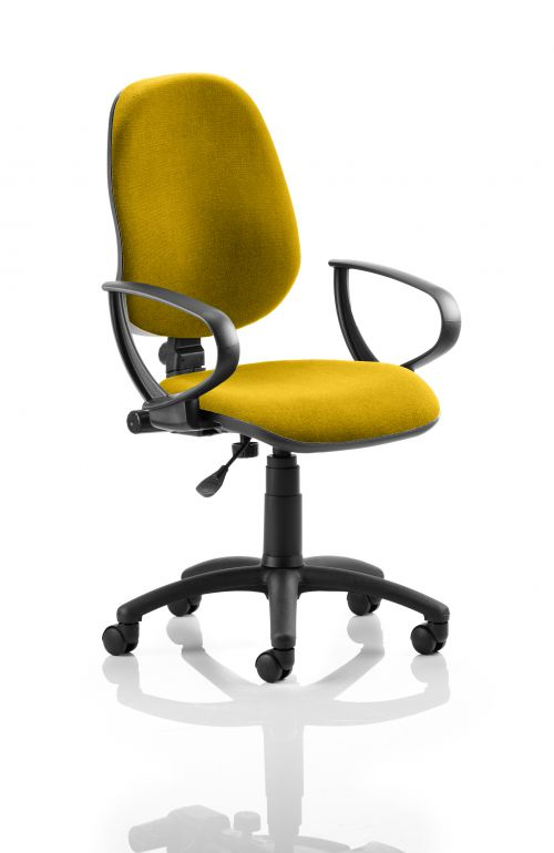Eclipse I Lever Task Operator Chair Bespoke With Loop Arms In Yellow