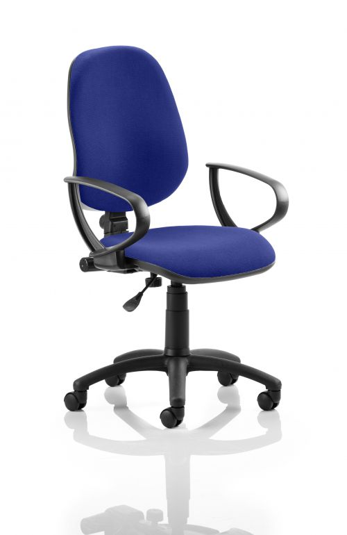 Eclipse I Lever Task Operator Chair Bespoke With Loop Arms In Admiral Blue
