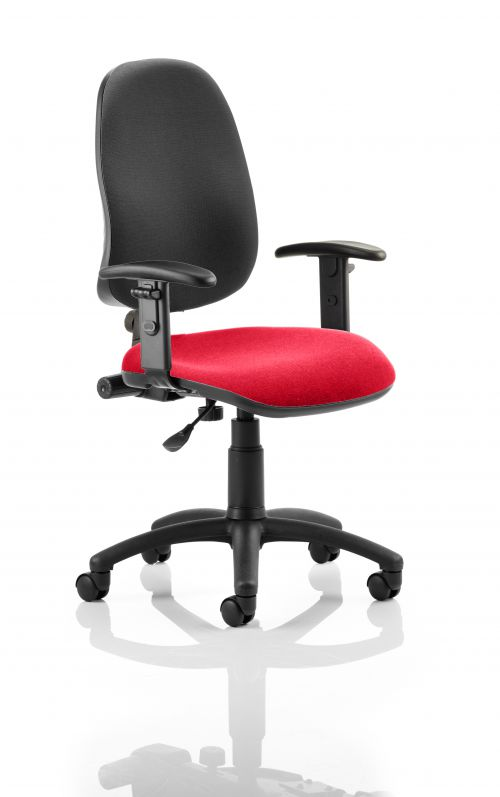 Eclipse I Lever Task Operator Chair Black Back Bespoke Seat With Height Adjustable Arms In Post Box Red