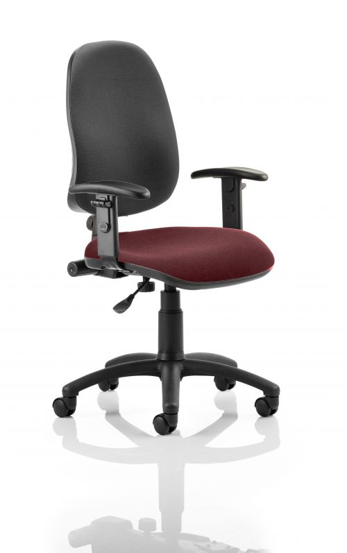 Eclipse I Lever Task Operator Chair Black Back Bespoke Seat With Height Adjustable Arms In Ginseng Chilli