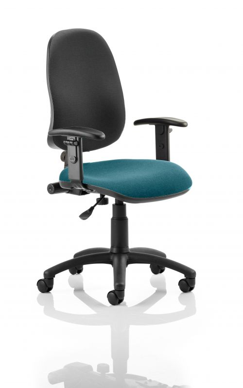 Eclipse I Lever Task Operator Chair Black Back Bespoke Seat With Height Adjustable Arms In Teal