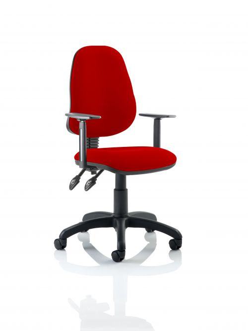 Eclipse II Lever Task Operator Chair Bespoke With Height Adjustable Arms In Post Box Red