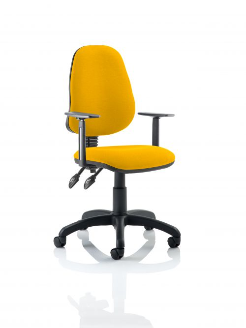 Eclipse II Lever Task Operator Chair Bespoke With Height Adjustable Arms In Yellow