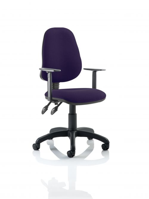 Eclipse II Lever Task Operator Chair Bespoke With Height Adjustable Arms In Purple