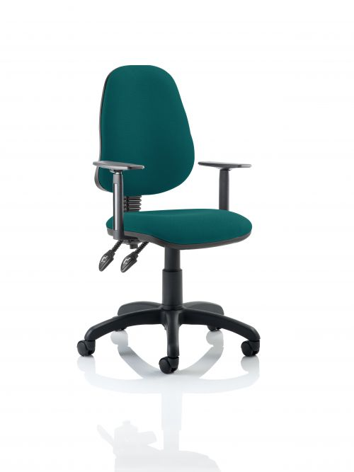 Eclipse II Lever Task Operator Chair Bespoke With Height Adjustable Arms In Teal