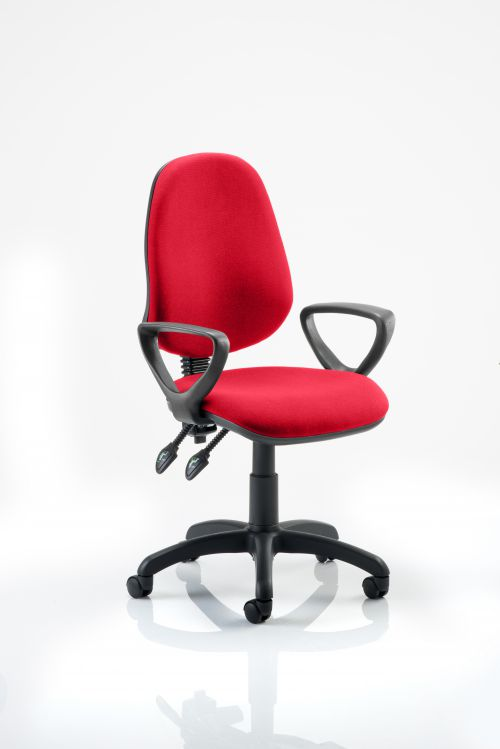 Eclipse II Lever Task Operator Chair Bespoke With Loop Arms In Post Box Red