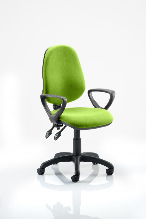Eclipse II Lever Task Operator Chair Bespoke With Loop Arms In Lime