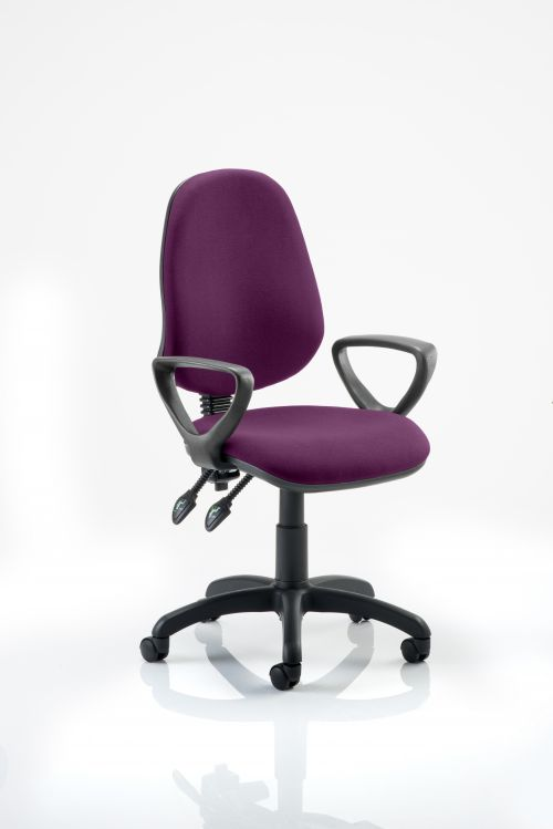 Eclipse II Lever Task Operator Chair Bespoke With Loop Arms In Purple