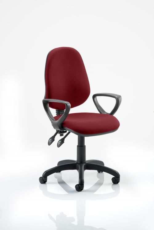 Eclipse II Lever Task Operator Chair Bespoke With Loop Arms In Ginseng Chilli