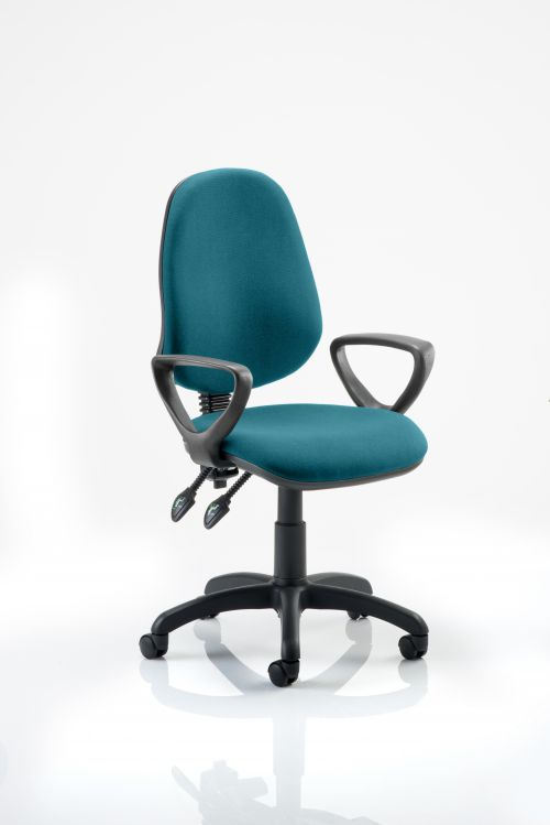Eclipse II Lever Task Operator Chair Bespoke With Loop Arms In Teal
