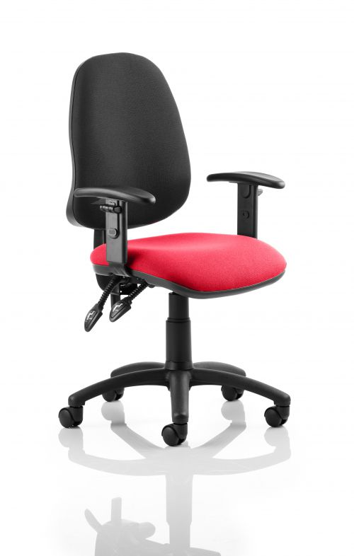 Eclipse II Lever Task Operator Chair Black Back Bespoke Seat With Height Adjustable Arms In Post Box Red
