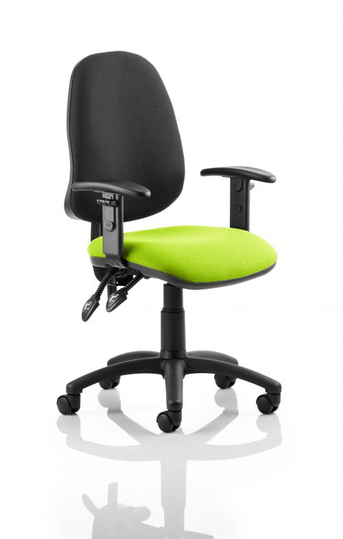 Eclipse II Lever Task Operator Chair Black Back Bespoke Seat With Height Adjustable Arms In Lime