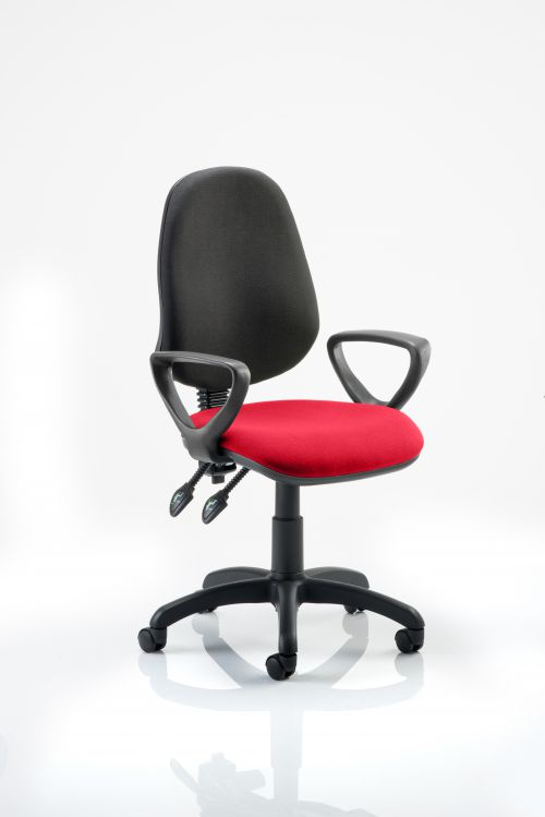 Eclipse II Lever Task Operator Chair Black Back Bespoke Seat With Loop Arms In Post Box Red