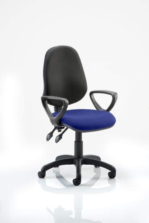 Eclipse II Lever Task Operator Chair Black Back Bespoke Seat With Loop Arms In Admiral Blue