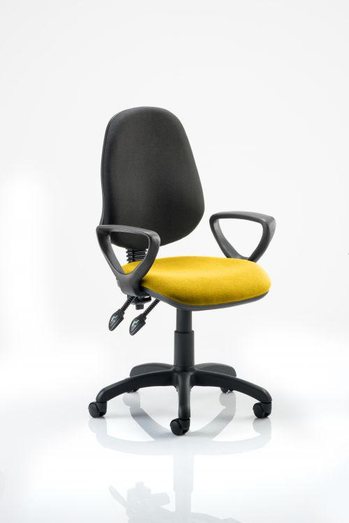 Eclipse II Lever Task Operator Chair Black Back Bespoke Seat With Loop Arms In Yellow