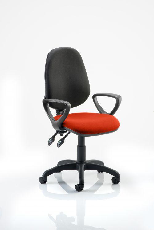 Eclipse II Lever Task Operator Chair Black Back Bespoke Seat With Loop Arms In Orange