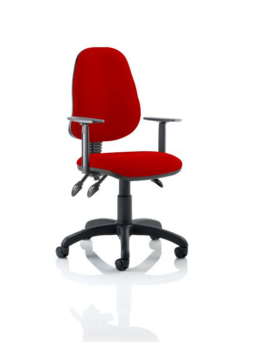 Eclipse III Lever Task Operator Chair Bespoke With Height Adjustable Arms In Post Box Red