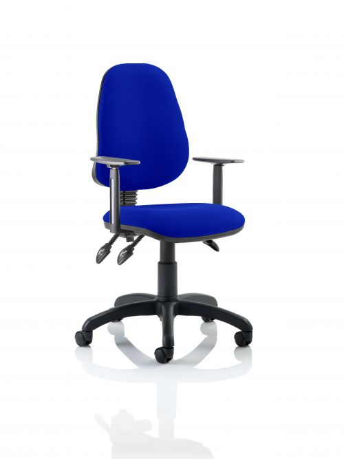 Eclipse III Lever Task Operator Chair Bespoke With Height Adjustable Arms In Admiral Blue