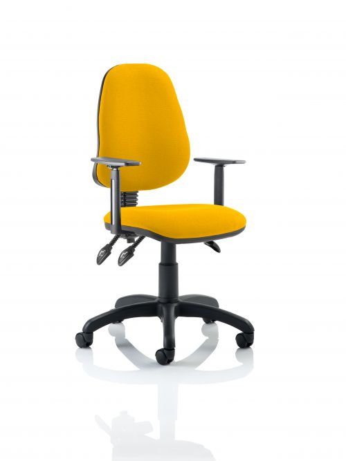 Eclipse III Lever Task Operator Chair Bespoke With Height Adjustable Arms In Yellow