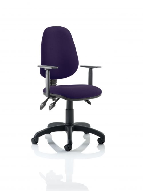 Eclipse III Lever Task Operator Chair Bespoke With Height Adjustable Arms In Purple