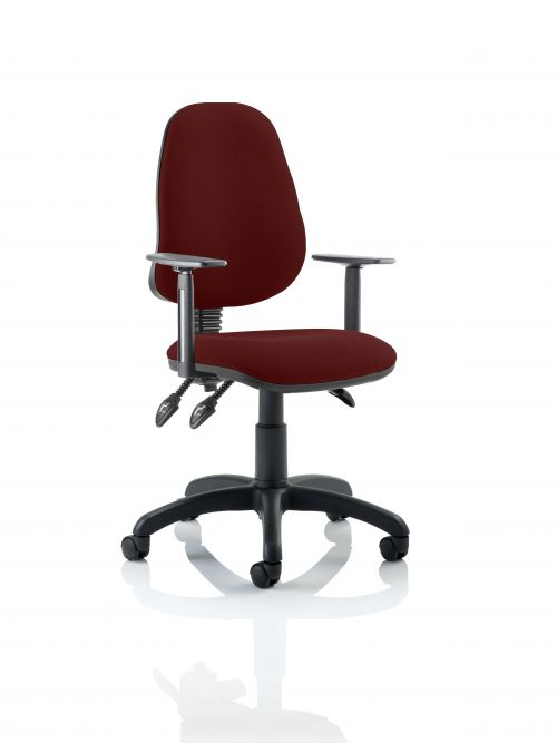 Eclipse III Lever Task Operator Chair Bespoke With Height Adjustable Arms In Ginseng Chilli