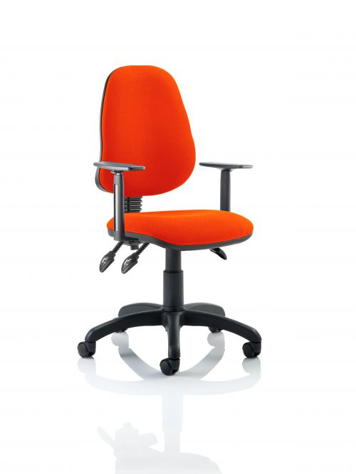 Eclipse III Lever Task Operator Chair Bespoke With Height Adjustable Arms In Orange