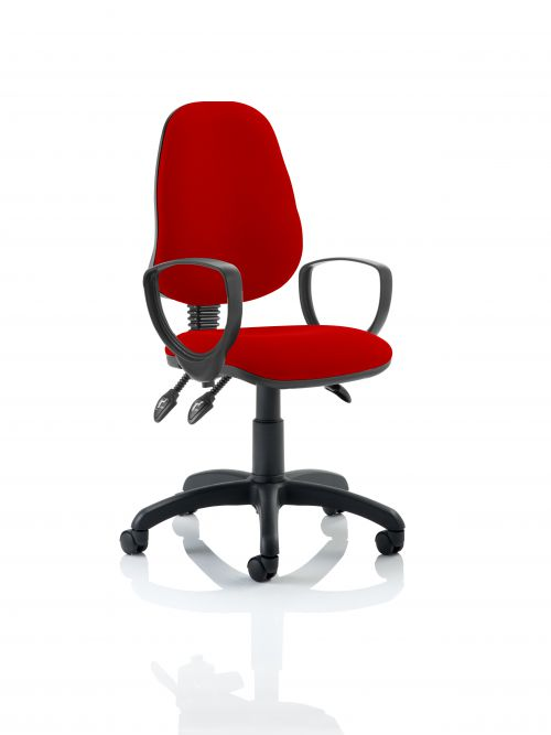 Eclipse III Lever Task Operator Chair Bespoke With Loop Arms In Post Box Red