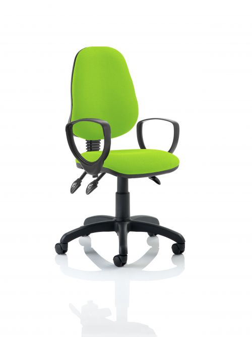 Eclipse III Lever Task Operator Chair Bespoke With Loop Arms In Lime