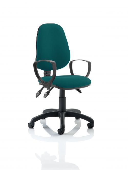 Eclipse III Lever Task Operator Chair Bespoke With Loop Arms In Teal