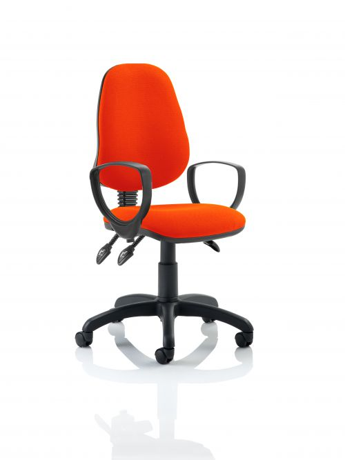 Eclipse III Lever Task Operator Chair Bespoke With Loop Arms In Orange