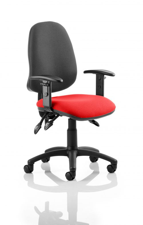 Eclipse III Lever Task Operator Chair Black Back Bespoke Seat With Height Adjustable Arms In Post Box Red