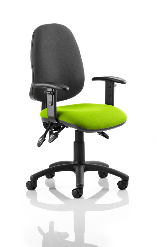 Eclipse III Lever Task Operator Chair Black Back Bespoke Seat With Height Adjustable Arms In Lime