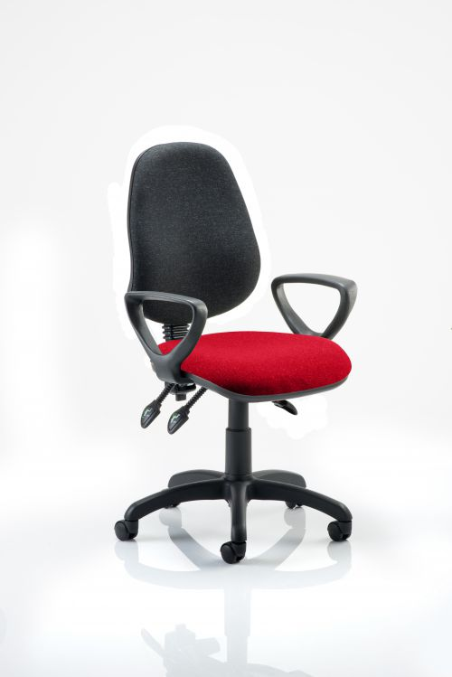 Eclipse III Lever Task Operator Chair Black Back Bespoke Seat With Loop Arms In Post Box Red
