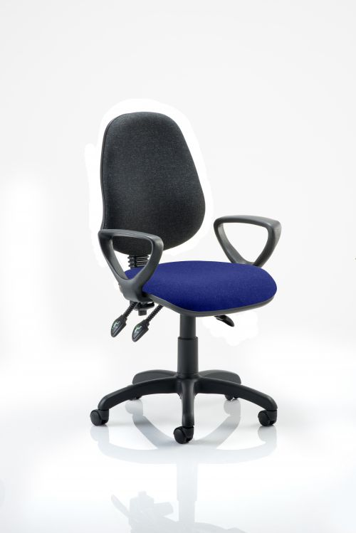 Eclipse III Lever Task Operator Chair Black Back Bespoke Seat With Loop Arms In Admiral Blue