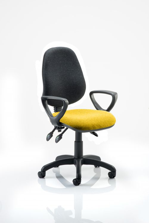 Eclipse III Lever Task Operator Chair Black Back Bespoke Seat With Loop Arms In Yellow