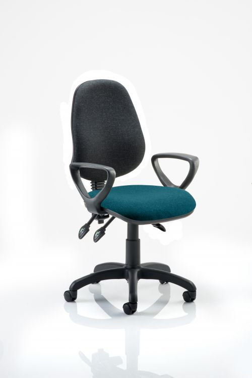 Eclipse III Lever Task Operator Chair Black Back Bespoke Seat With Loop Arms In Teal