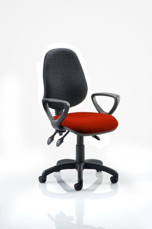 Eclipse III Lever Task Operator Chair Black Back Bespoke Seat With Loop Arms In Orange