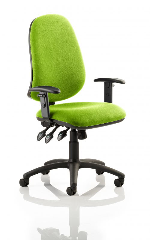 Eclipse XL Lever Task Operator Chair Bespoke With Height Adjustable Arms In Lime
