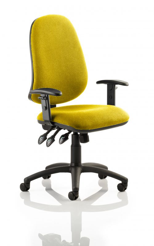 Eclipse XL Lever Task Operator Chair Bespoke With Height Adjustable Arms In Yellow
