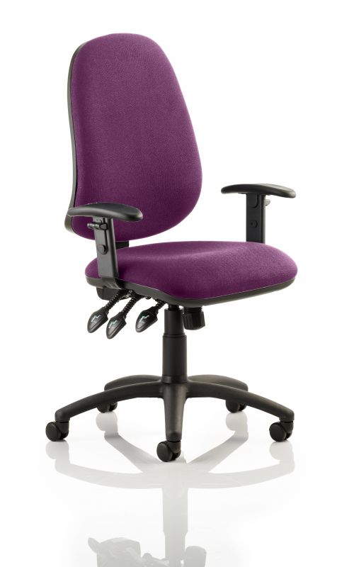 Eclipse XL Lever Task Operator Chair Bespoke With Height Adjustable Arms In Purple