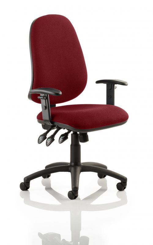 Eclipse XL Lever Task Operator Chair Bespoke With Height Adjustable Arms In Maroon