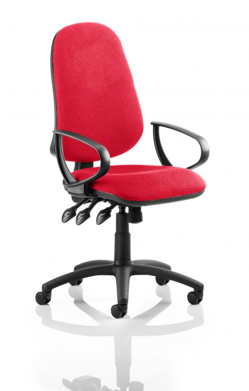 Eclipse XL Lever Task Operator Chair Bespoke With Loop Arms In Post Box Red
