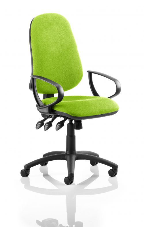 Eclipse XL Lever Task Operator Chair Bespoke With Loop Arms In Lime