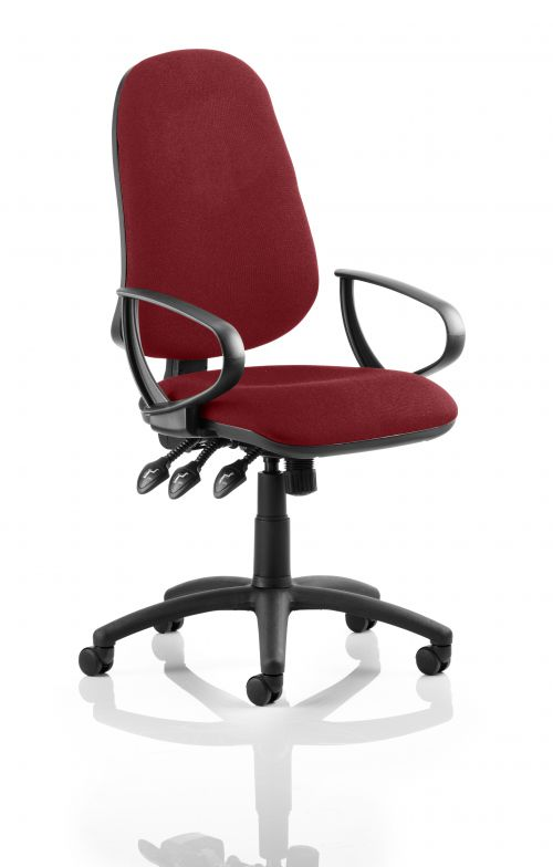 Eclipse XL Lever Task Operator Chair Bespoke With Loop Arms In Ginseng Chilli