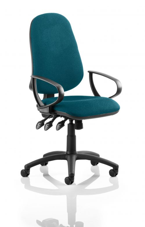 Eclipse XL Lever Task Operator Chair Bespoke With Loop Arms In Teal