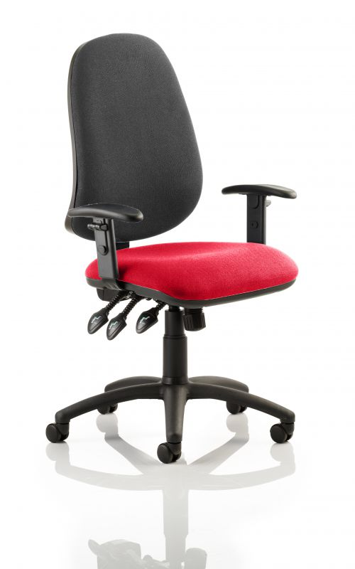 Eclipse XL Lever Task Operator Chair Black Back Bespoke Seat With Height Adjustable Arms In Post Box Red